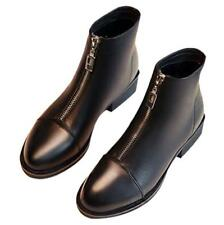 Womens Ladies Black Leather Zipper Block Heel Shoes Outdoor Ankle Chelsea Boots