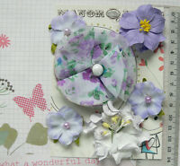 LAVENDER & WHITE Mix 6 Paper & Fabric Flowers 4 Styles 35-75mm across VB3