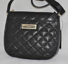 $195 DKNY Quilted Lamb Nappa Soft Leather Messenger Crossbody Bag Purse New