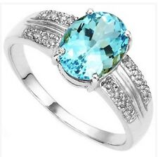 1 DAY SALE Women's blue Topaz and diamond ring