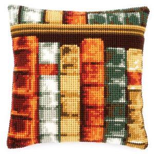 Chunky Cross Stitch Cushion Front Kit 40x40cm 4.5hpi canvas - Books
