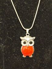 "Red Enamel Owl Pendant Necklace .925 Silver, 16"" Free Shipping!!"
