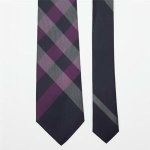 BURBERRY TIE Ckeck in Purple & Gray Skinny Woven Necktie