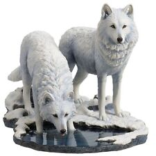 "10.25"" Winter Warriors By Lisa Parker Statue Fantasy Sculpture Wolf Wolves"