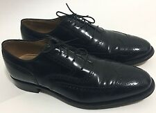 Johnston & Murphy Mens Shoes Size 10.5 Black Leather Wing Tip Lace Up