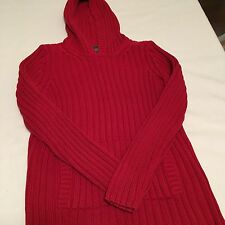 RALPH LAUREN  Size S Red Sweater Hoodie Ribbed With Hand Warmer Women's