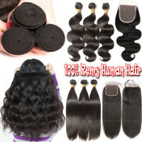 Weft Remy Human Hair Bundles With Closure Extensions Black Straight Unprocessed
