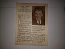 Carl Hubbell & Willis Hudlin 1933 Baseball Who's Who in Baseball Sheet