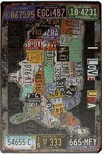 MAPPA USA firmare I Love USA Retrò Vintage Tin Targa Bar pub Wall Decor
