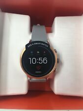 NIB Fossil Women's Gen 4 FTW6011 Stainless Steel Smartwatch Rose Gold Grey Band