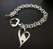 "Lovely Vintage Silver Toggle Bracelet 7.75"""