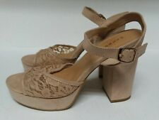 Women's Tan Lace Platform High Heel Open Toe Sandals Size 8 by Bamboo