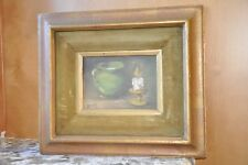 Vintage 60s Oil Painting, Still Life PITCHER CANDLE signed S. Benson Wood Frame