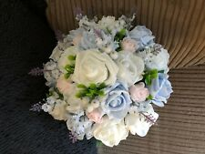 Wedding Posy Bouquet  Medium Lavender & White, Baby Blue & Pink  Berries & Gyp