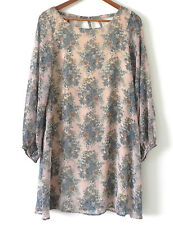 Love Audrey Dress Tunic Chiffon Floral Long Sleeve Open Back Size S/M