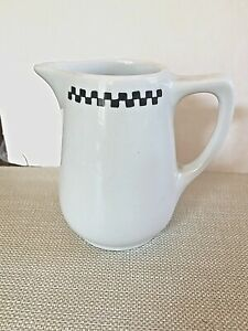 Vintage Checkerboard Trimmed White Lamberton Sterling S2 Creamer from Fishs Eddy