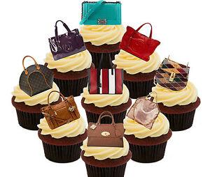 Designer Handbag Edible Cupcake Toppers, 36 Stand-up Fairy Cake Bun Decorations