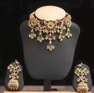 Kundan Jewelry Wedding Necklace Guluband Jewellery Indian Jewelry Choker Set