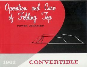 1962 GM Convertible Folding Top Operational Manual