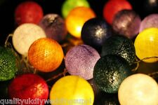 Multi Colour Cotton Ball BATTERY LED Fairy Lights 20 Light Balls 3 Meters long