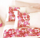 Completo Lenzuola con 4 Federe Matrimoniale Waikiki Floreale Rosa Rosso Bassetti
