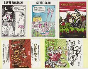 28 étiquettes de vin par auteurs bd ,ou humoristique ,CABU,WOLINSKI,MARGERIN..