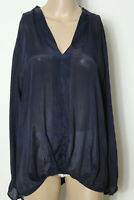 Shirt Gr. 42 dunkel-blau Langarm Hüft Blusen Damen Langarm-Shirt aus Italien