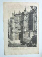 1885 Xilografía: Plasencia Cáceres Fachada de la Iglesia Catedral