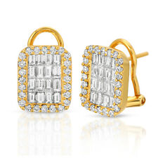 Fine 18K Yellow Gold 2.02 Ct Natural Diamonds 13 mm Omega Back Earrings