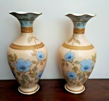 "Wedgwood Etruria Pair of Ivory Vellum Painted Floral Bead Gilt 15"" Vases c1891"