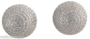 Sterling Silver White CZ stones 12mm White Round Ball Stud Earrings