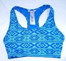 Forever 21 Sports Bra Workout Blue S Geometric Print Yoga Fitness Pilates