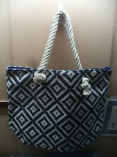 "Summer & Rose Beach Tote Cream & Blue Diamonds Canvas 18.5"" W X 14"" H X 6"" D NIP"
