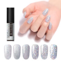 LILYCUTE 5ml Nail Gel Polish Holographic Silver Glitter Soak Off UV Gel Varnish