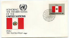 United Nations #408 Flag Series 1983, Peru, Artmaster, Fdc