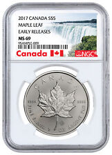 2017 Canada $5 1 oz Silver Maple Leaf NGC MS69 ER Exclusive Label SKU44176