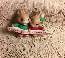 Hallmark Merry Miniatures First Christmas Together 1990 Bunny Rabbit Me-21