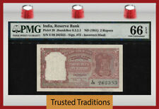 Tt Pk 28 Nd (1951) India Reserve Bank 2 Rupees Pmg 66 Epq Gem Uncirculated!