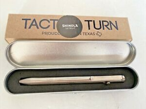 Tactile Turn Bolt Action Pen w/Case and Box Titanium Silver Black Ink