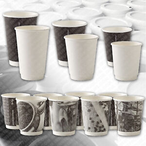 8oz 12oz 16oz Double Wall Paper Cups Coffee Black White Pattern Disposable Lids