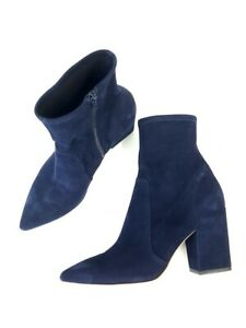 Loeffler Randall Isla Navy Blue Suede Ankle Bootie Boots Size 38 1/2