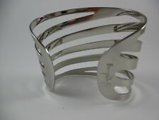 Thierry Mugler Opulent Silvertone Signature Cuff Bracelet New Without Box