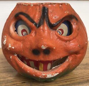 Vintage Halloween Paper Mache Pumpkin JOL Pulp Company USA Label Lantern