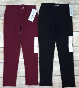 2pc Cat & Jack Girls' Knit Jegging Pants - Black & Burgundy Size 5T