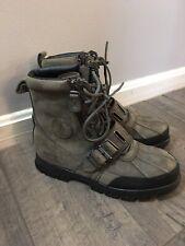 POLO Ralph Lauren Andres Men's 9D Leather Ankle Boots Lace Up Double Zip