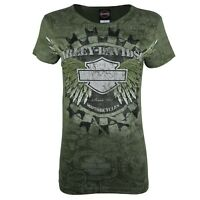 Ladies Harley Davidson New Silver Shade Graphic Cotton Fit Tops T Shirts 4