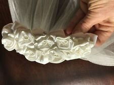 "Ivory Bridal Veil with Ivory Silk Flowers and Pearls Hair Comb; 25"" veil length"