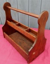 Antique Wooden Tool Carrier with Lollipop Cut-Out Ends