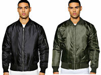 Mens Boys Bomber Zip Up MA1 Jacket Coat Military Army Biker S-XXL