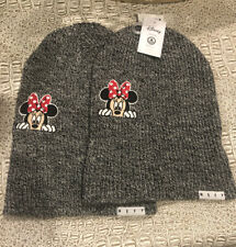 Set Of 2: Disney Collection Neff Minnie Mouse Grey Beanie Unisex One Size Fit